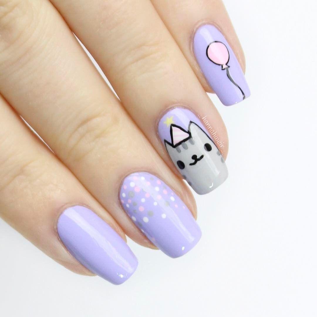 Nail Art Designs Cute Cat Purple Pastel Polka Dots Simple Purple Nail Art Purple Nail Designs Purple Nails