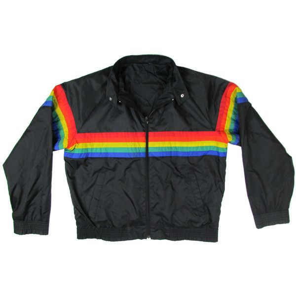 05d5ea8c4a4 1990s VINTAGE RETRO Rainbow Jacket Multi-Coloured Windbreaker Rain...  (3.365 ISK) ❤ liked on Polyvore featuring outerwear