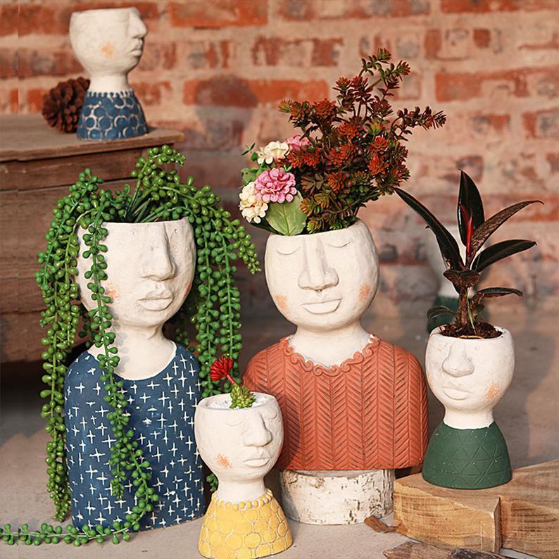 Indoor Planters Cement Flowerpot Human Face Flowerpotplant Etsy In 2020 Face Planters Flower Pots Face Vase
