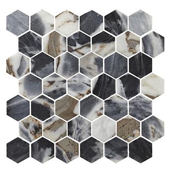 Bar Backsplash Roma Impression Polished Hex Marble Mosaic Wall And