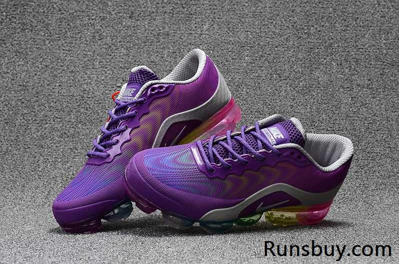 Runs Buy Offer Cheap Sale Christmas Gift Nike Air VaporMax KPU Purple Gray  Rainbow Sole SneakersFirst Hand Factory Direct Sale