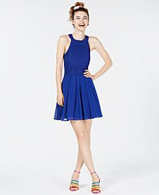 155c84844a9 Trixxi Juniors  Bow-Back Glitter Fit   Flare Dress