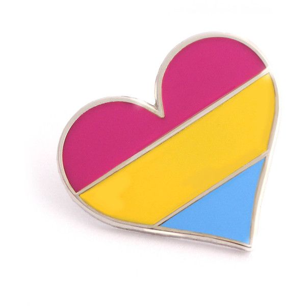 8f7983d15 Pansexual pride pin, gay lapel pin, pansexual flag pin, heart enamel...  ($10) ❤ liked on Polyvore featuring jewelry, brooches, pansexual, heart  jewellery, ...