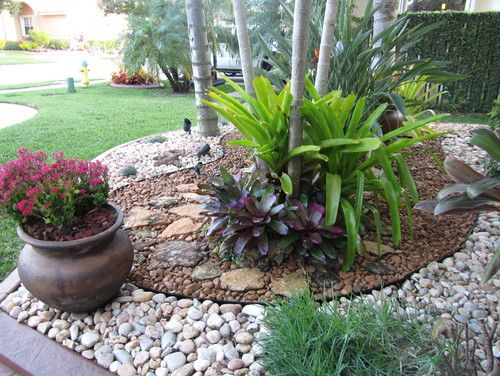 As Mentioned Before Tropical Areas Have A Tendency To Be A Bit More Complicated When It Com Front Yard Landscaping Design Rock Garden Design River Rock Garden