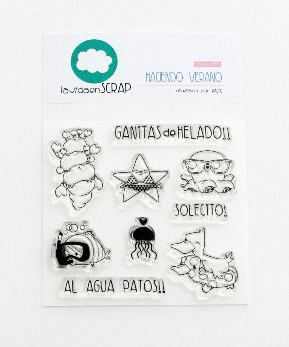 """Colección """"Haciendo Verano"""", diseñada por Pache. Disponible en: Y en: https://www.etsy.com/es/listing/236141817/set-de-sellos-haciendo-verano?ref=shop_home_active_5http://www.lavidaenscrap.com/p/puntos-de-venta.html"""