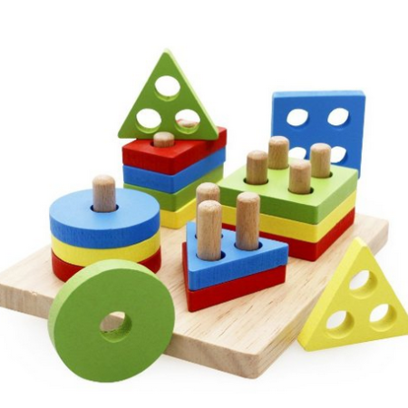 Baby Puzzle Shape Color Wood Building Block Toddler Preschool Learning Play Toy