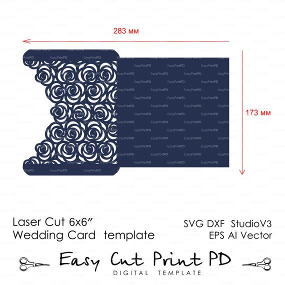 Roses Lase Wedding Luxery Envelope Card Template by EasyCutPrintPD