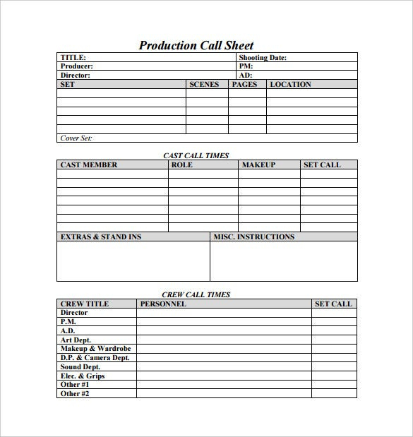 Call Sheet Template 25 Free Word Pdf Documents Download Inside Blank Call Sheet Template Templates List Template Sheet