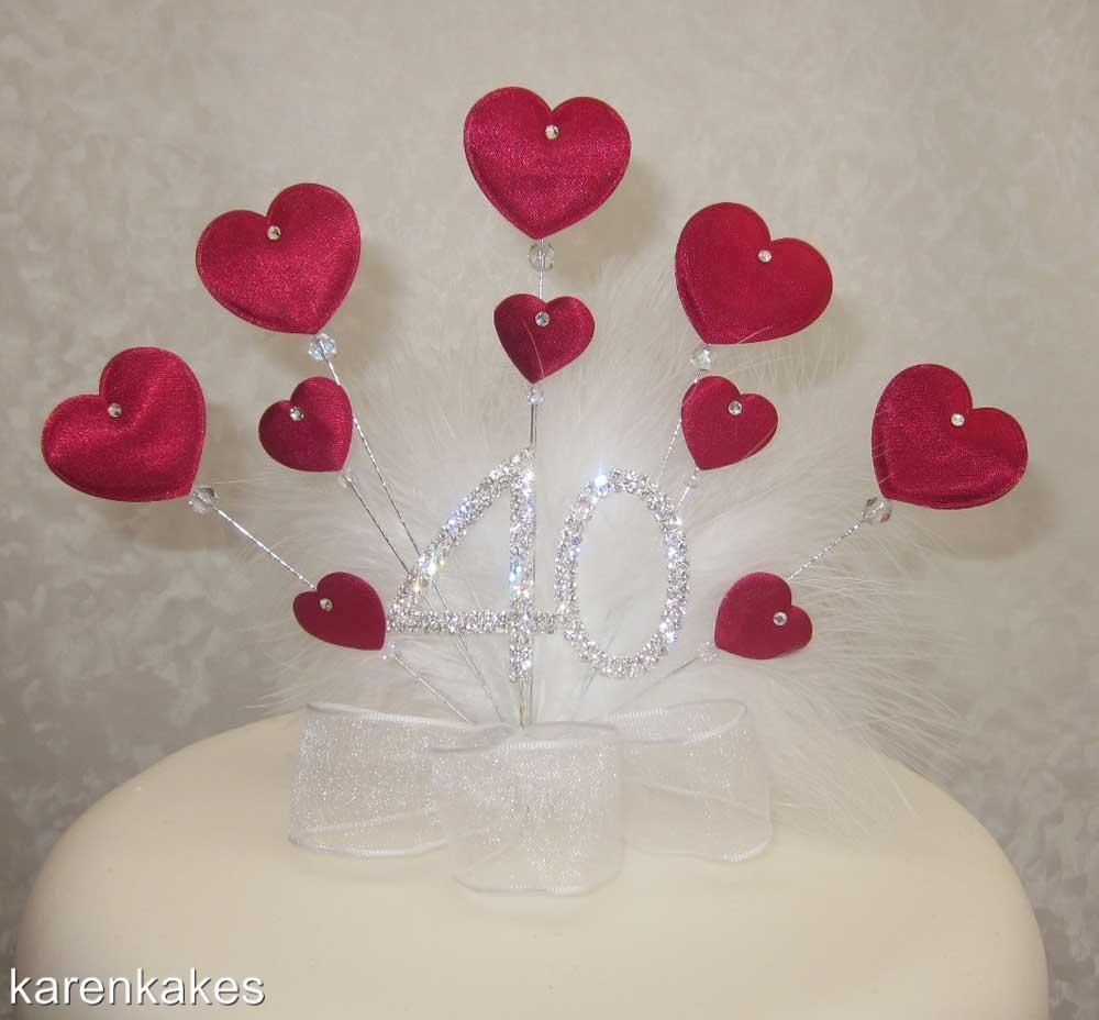 Dark Red Heart Birthday Anniversary Cake Topper 16 18 21 25 30 40 - Ruby Wedding Cake Toppers