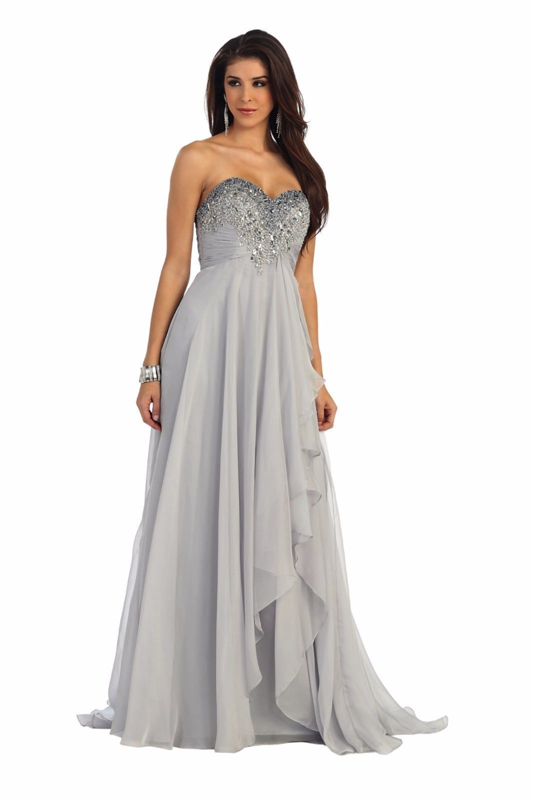 2e0d32346f6 Plus Size Beaded Sequins Chiffon Floor Length Sweetheart Formal Wedding  Occasion