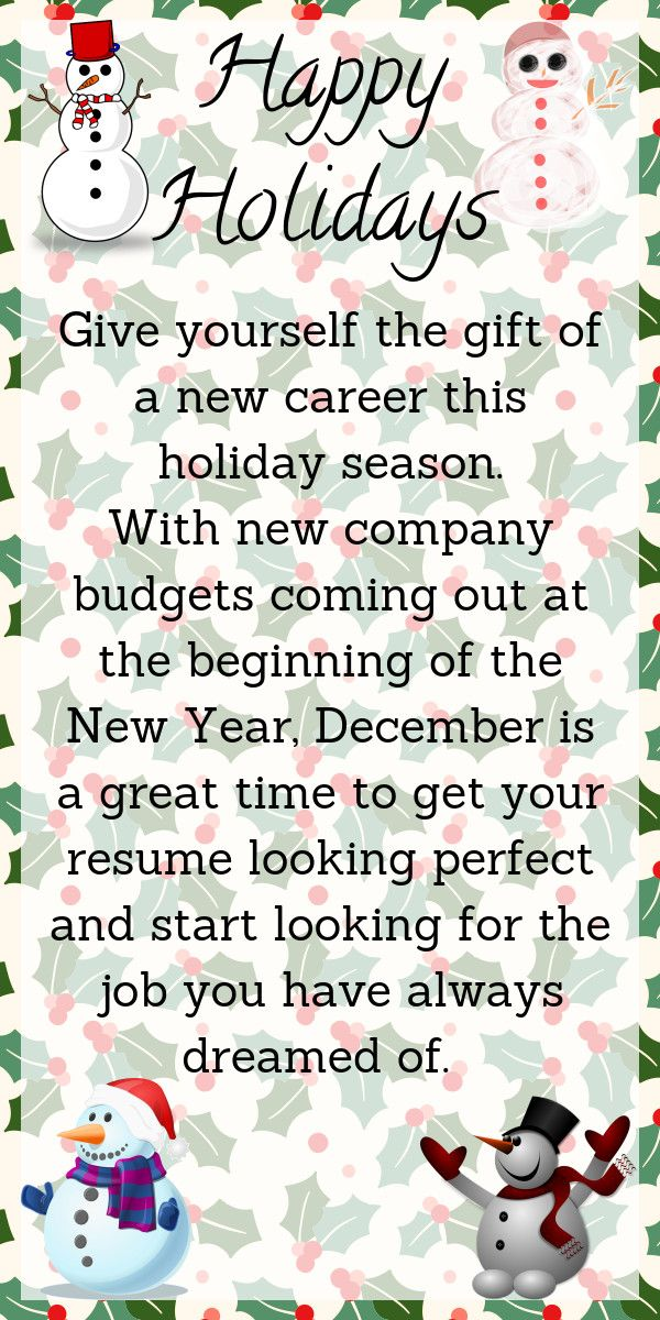 December is a great time to start looking for a new job Job - how to start a resume writing business