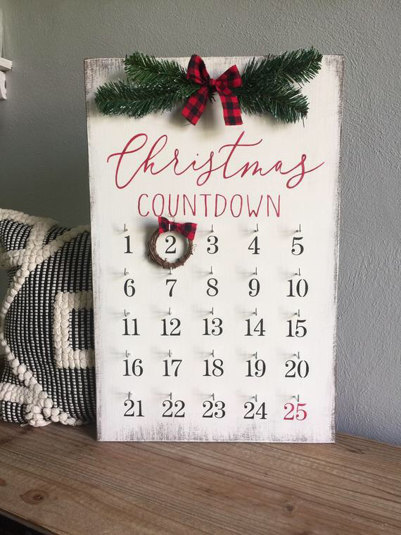 Christmas decor, christmas countdown, christmas sign, farmhouse christmas, wooden sign, holiday decor, countdown sign, buffalo plaid decor