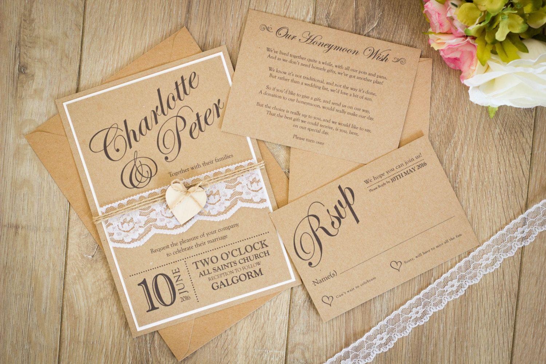 Handmade Wedding Invitation Rustic wedding invitation | Wedding ...