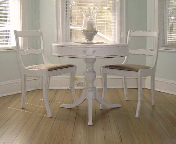 French Shabby Chic White Bistro Set 2 Chairs & Table | Bistro set ...
