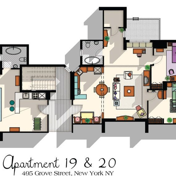 Friends Tv Show Apartment Floor Plan Friends Tv Show Layout The One With The Floor Plan Apartment Of Joey Chandler Monica And Rachel Apartment Floor Plan Friends Apartment Sims House