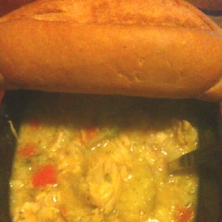Soup; chicken, carrots, broccoli, cauliflower, rice; bread so good and I made it all by my self!! =-)