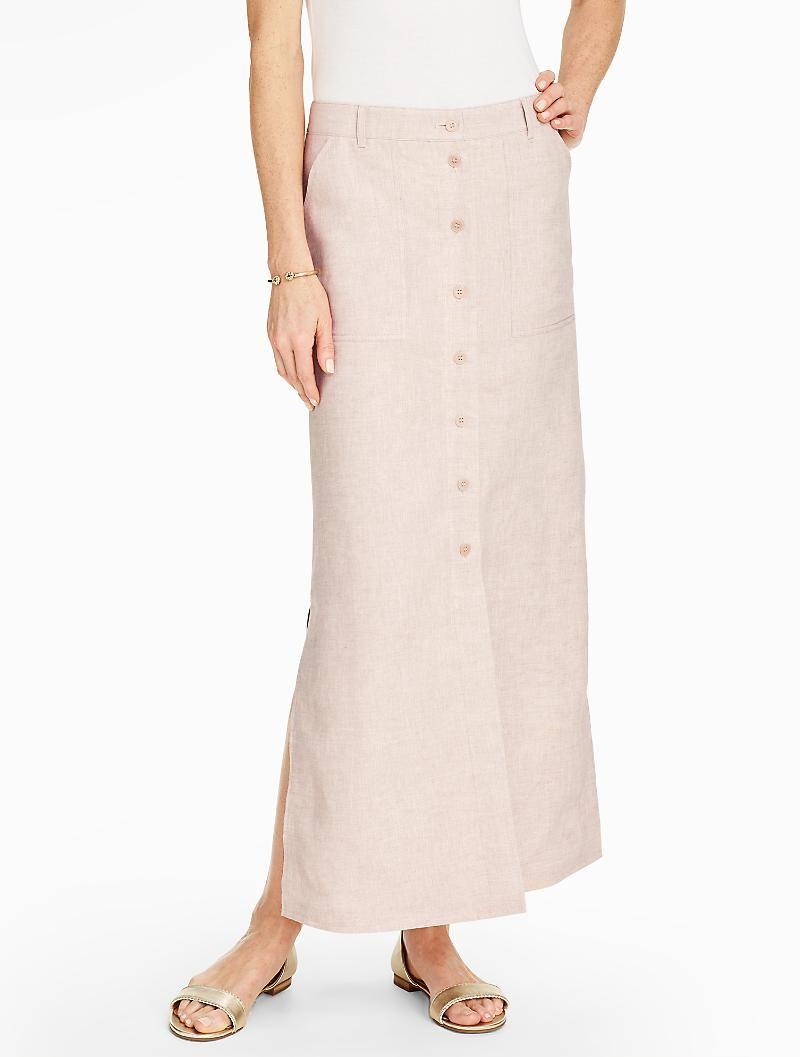 Madison Linen Side-Slit Maxi Skirt - Talbots