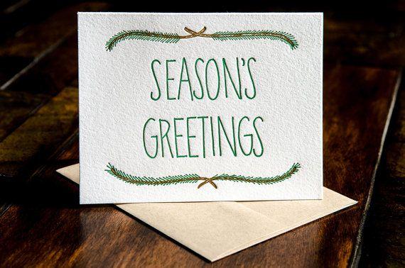 Seasons Greetings letterpress card by inkmeetspaper on Etsy, $5.00