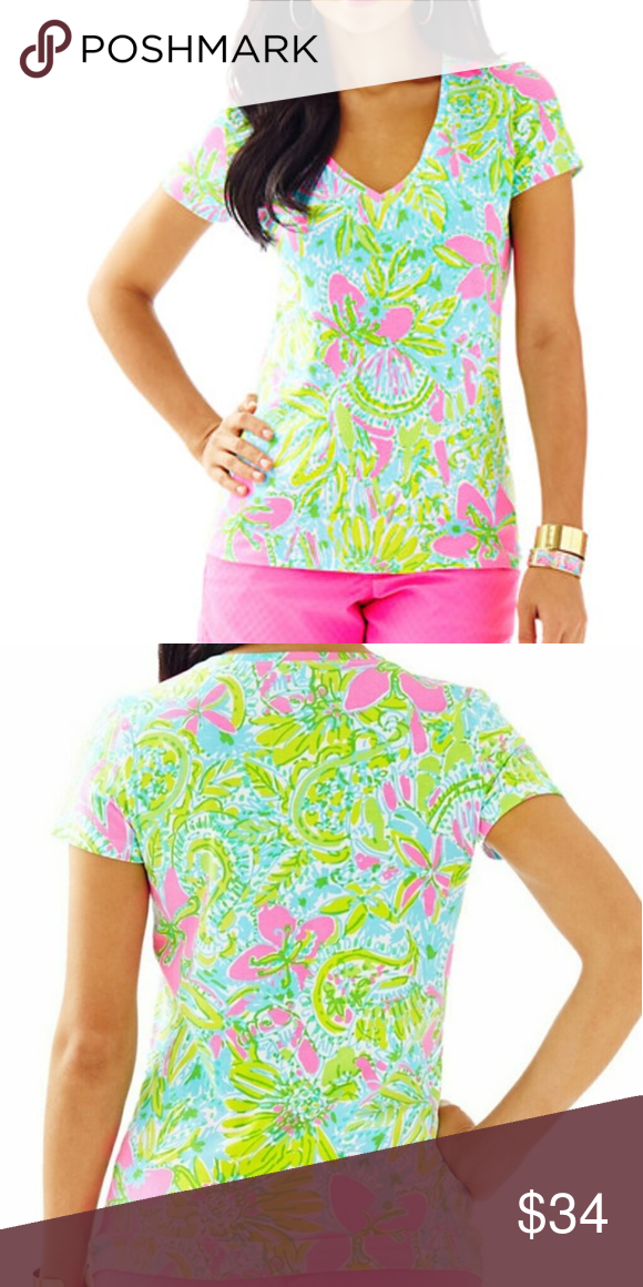38d4f4192d7b3 Lilly Pulitzer - Michele V-Neck Top MULTI COCONUT JUNGLE - NWOT Lilly  Pulitzer Tops Tees - Short Sleeve