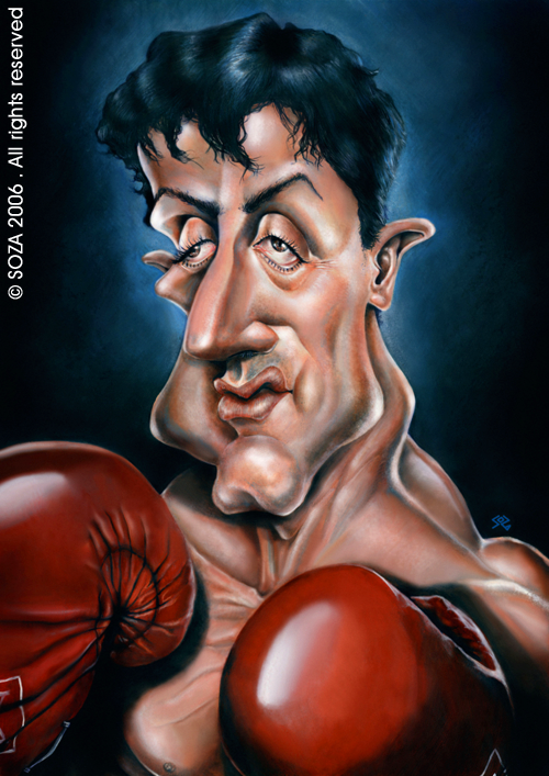 Sylvester Stallone Rocky Balboa Caricature Made In Acrylic Ink On Cardboard Caricature Cartoon People Funny Caricatures