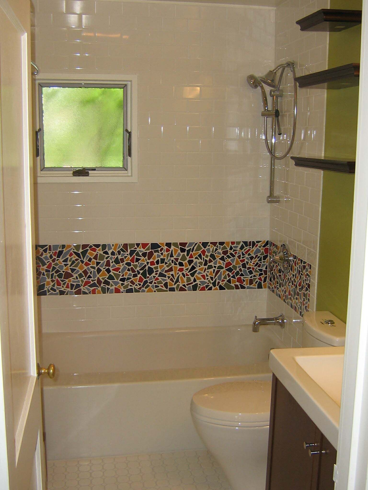 Bathroom With Mosaic Tiles On Rukle Modern Designs  Gallery
