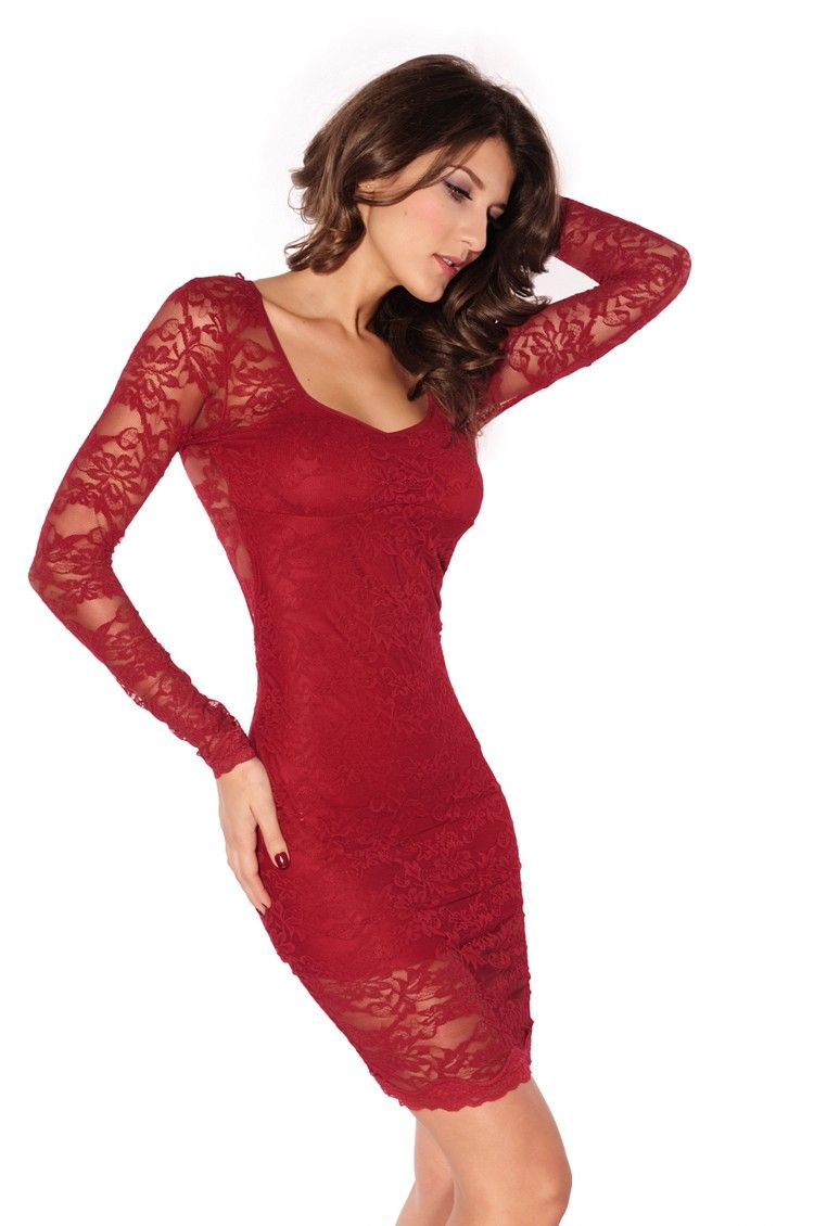 38+ Red long sleeved lace dress ideas