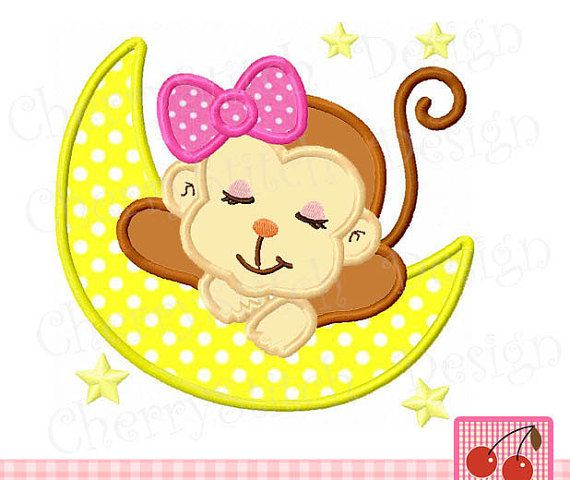 Moneky Sleeping Baby Monkey Embroidery Applique For Girls
