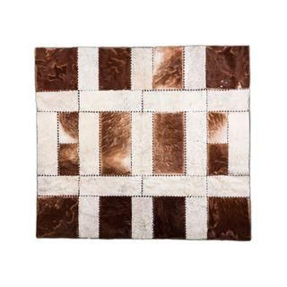 Square Hair On Hide Patchwork Rug - 5′11″ × 6′7″ / Hand-Made / Hand-Stitched / Hand-Tanned / Natural air dried / PREMIUM QUALITY / $1.434 / Shop at: https://www.chairish.com/shop/aydin