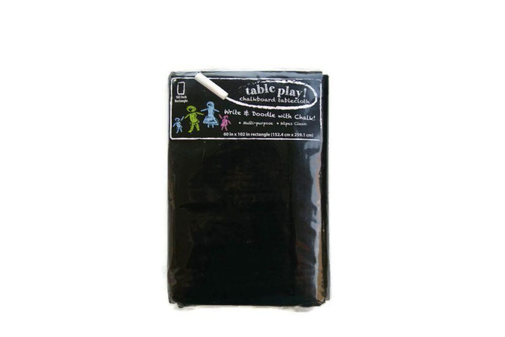 Amazon Com Table Play Chalkboard Tablecloth 60 X 102 Inch Rectangle Home Amp Kitchen Table Cloth Chalkboard Vinyl Vinyl Tablecloth