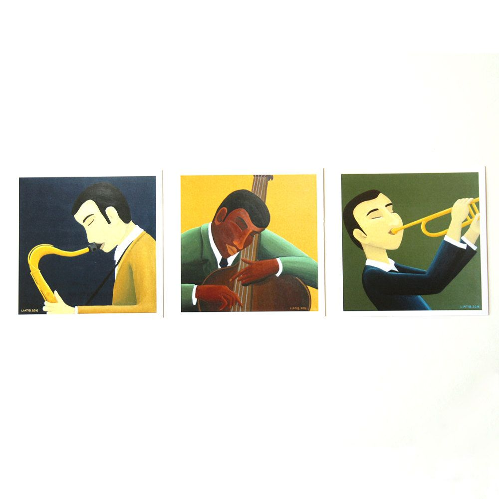 Set Of 3 Cards Jazz Players Illustrated Greeting Card Great Music Lovers Gift For Birthday Illustration