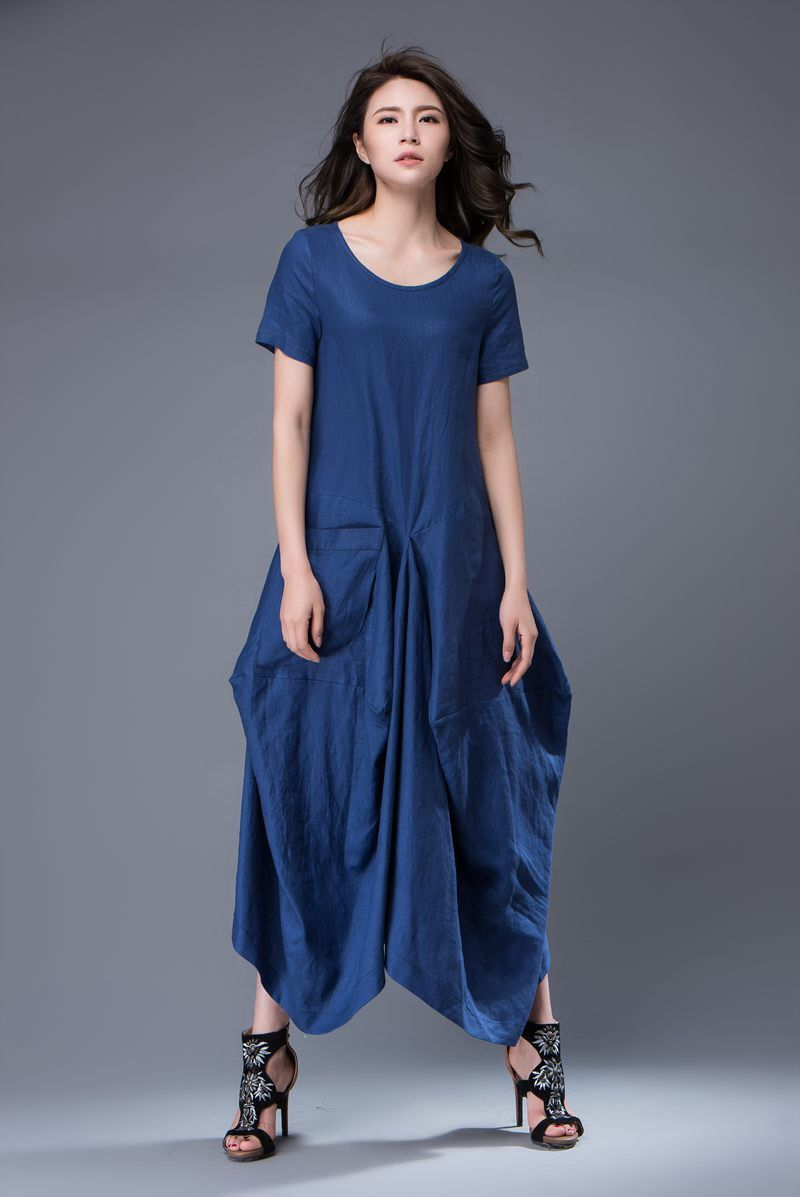 Blue linen dress lagenlook long maxi shortsleeved loosefitting
