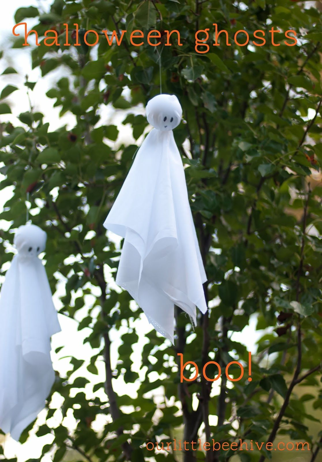 Small Halloween ghosts to hang from trees boo