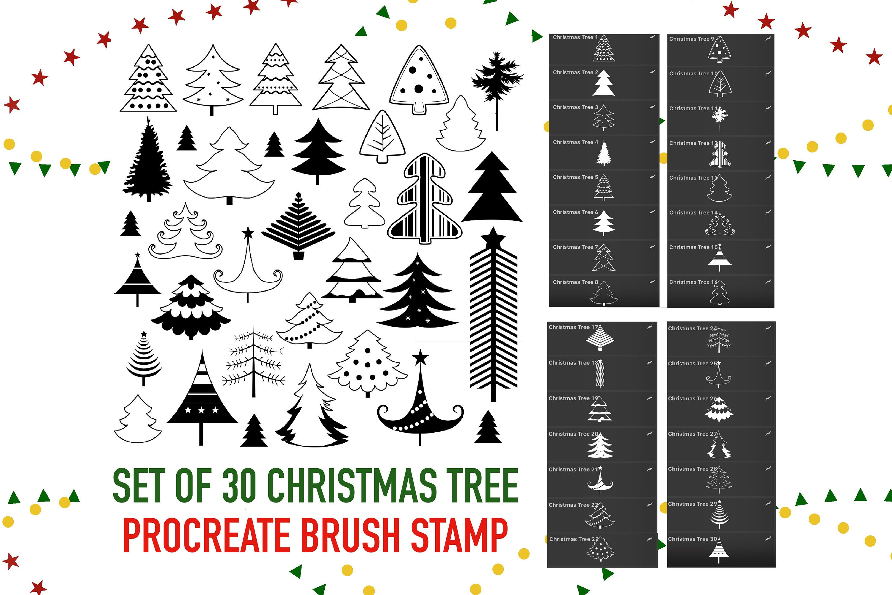 Christmas Tree Stamps Brushes For Procreate Digital Brush Etsy In 2020 Tree Stamp Procreate App Alphabet Illustration