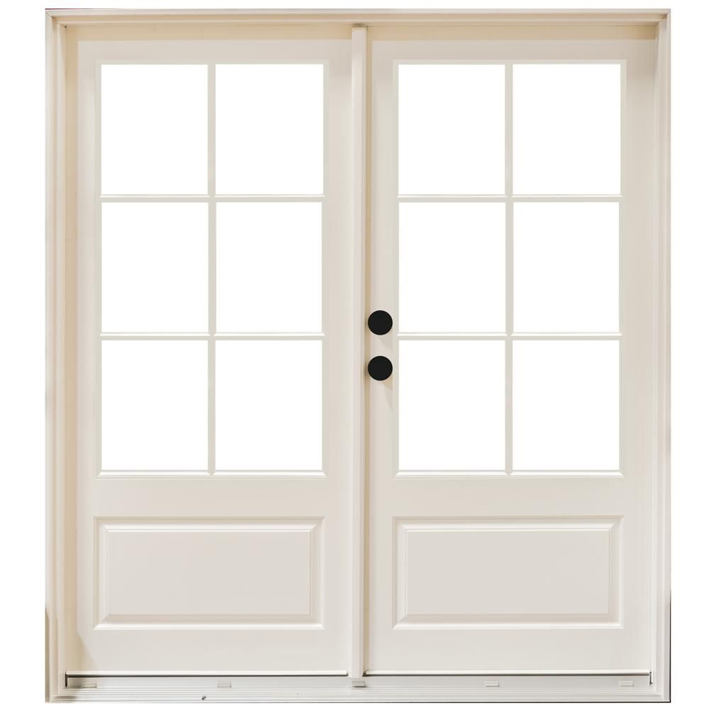 Good MasterPiece 60 In. X 80 In. Fiberglass Smooth White Right Hand Inswing  Hinged 3/4 Lite Patio Door With 6 Lite GBG, Smooth White Interior And  Exterior