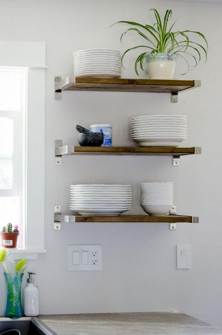 37 Inspiring Diy Small Kitchen Open Shelves Decor Ideas Corner Shelf Ideas Kitchen Wall Shelves Shelves Open shelving small kitchen