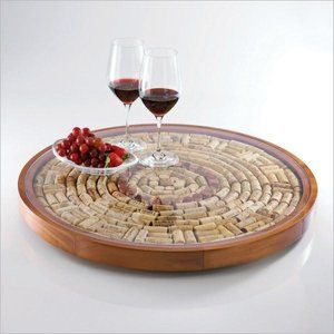 Round Wine Cork Serving Tray T It Would Be Fun To Make One Of These