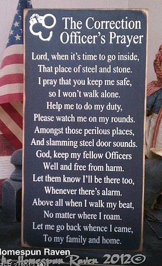 Corrections Officer Prayer Law Enforcement Primitive Wood Sign Cop Deputy LE Sheriff Police Blue Lin