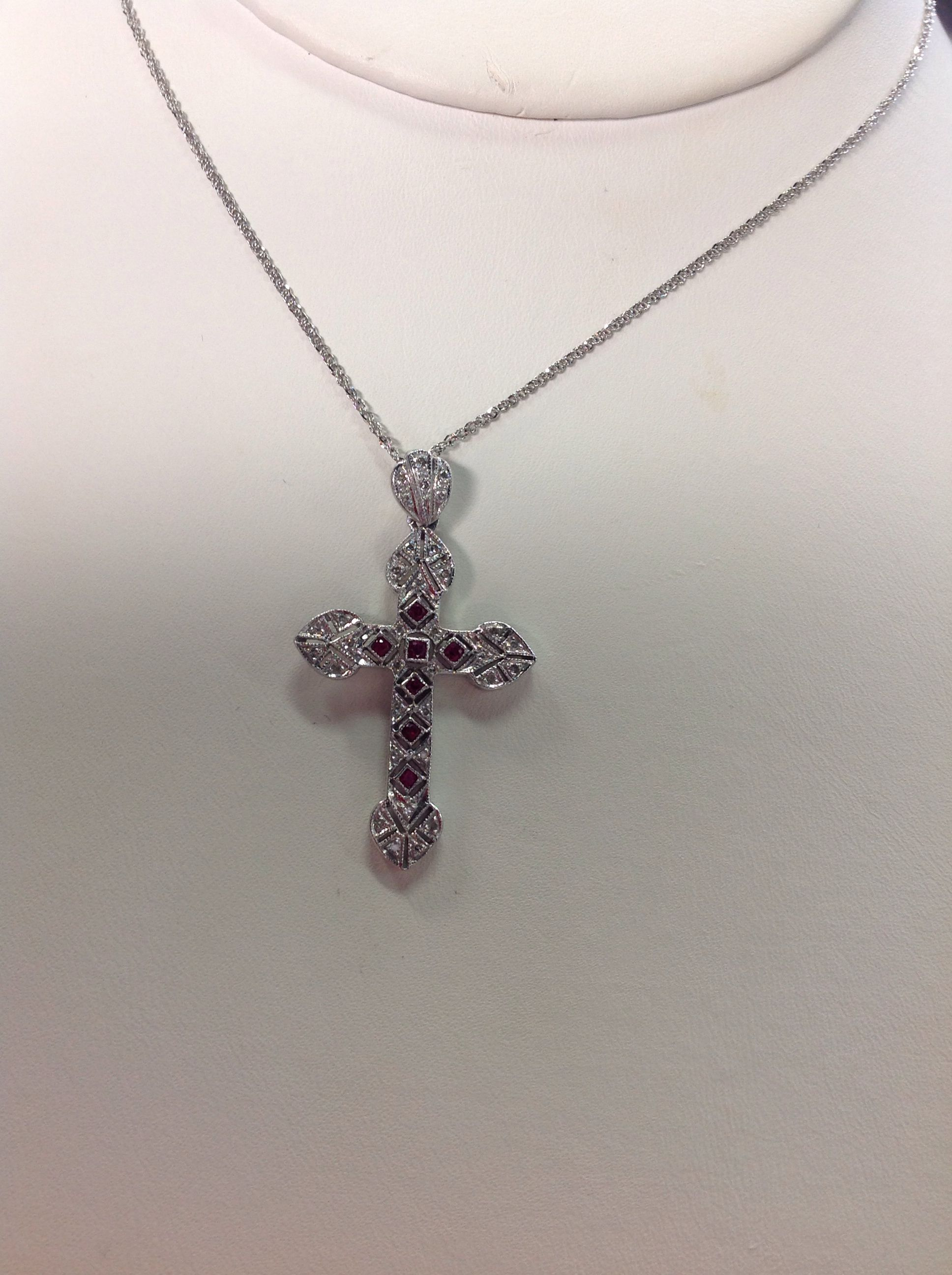 bcd6aa9cb015 Ruby and Diamond Cross Pendant 14k white gold  1500