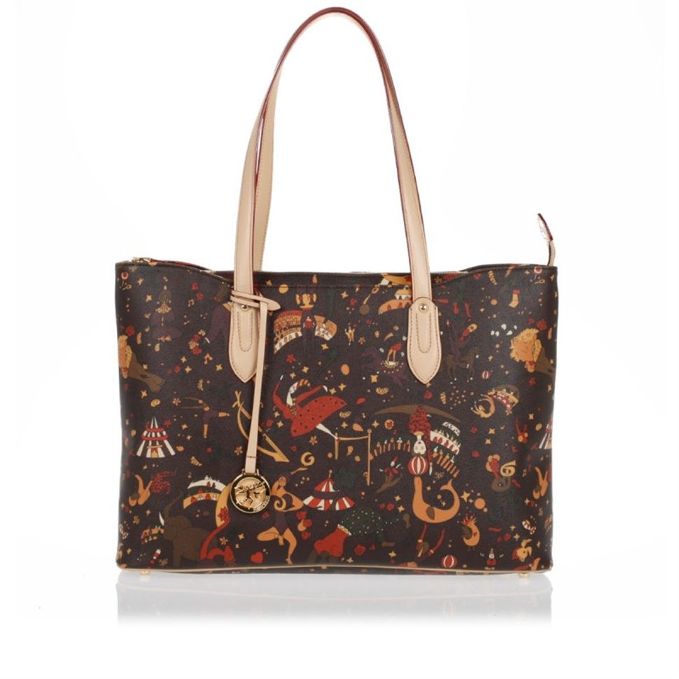 20afc6f90f1d Piero Guidi x 11 in. Tote available in black or brown Magic Circus Print.  Made in Italy In Magic Circus Embossed Fabric Metal finishings Genuine  leather tr