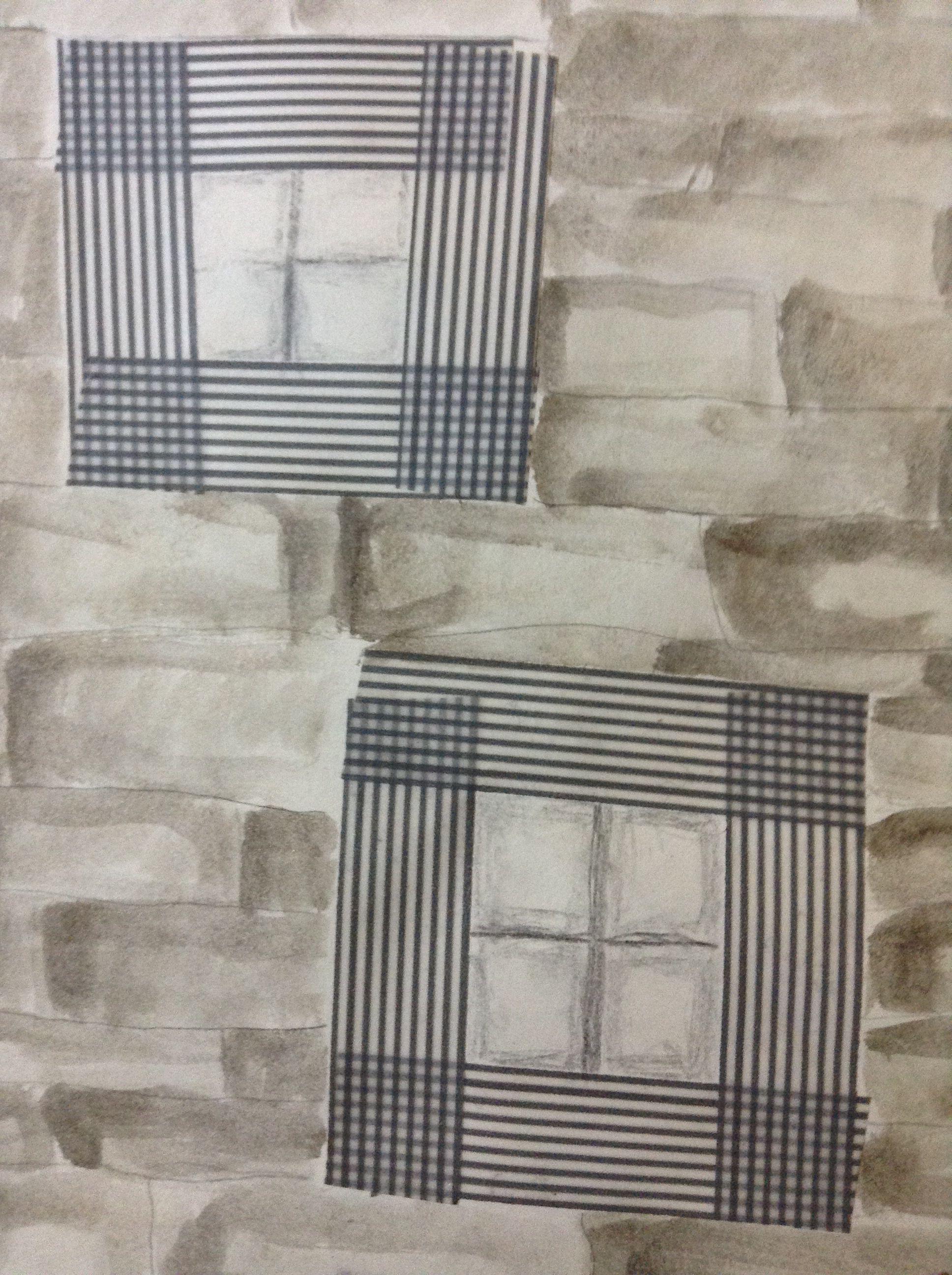 Windows. Gelato wash, graphite, and washi tape.