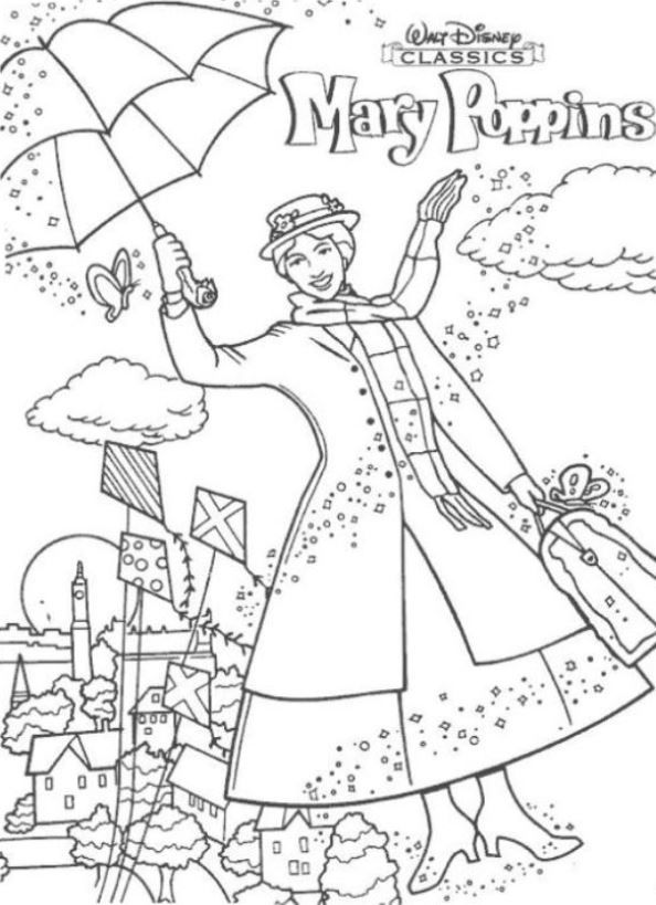 17 Coloring Pages Of Mary Poppins With Images Disney Coloring