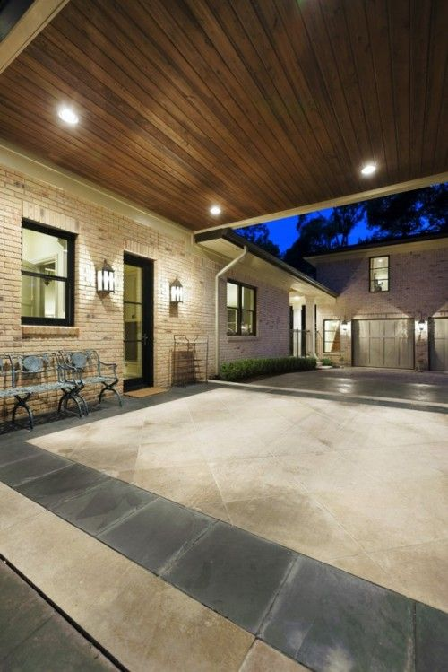 Dark Wood Ceiling With Recessed Lighting Over Entry House With Porch Carport Designs Traditional Exterior