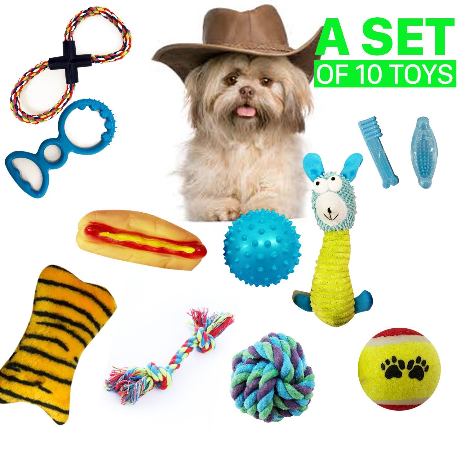 Dog Toys Set Ball Rope And Chew Squeaky Toys For Small Medium Dog