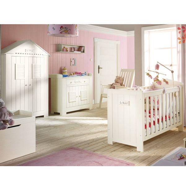 Chambre bébé LA PLAGE, en bois de pin massif, peintures et vernis