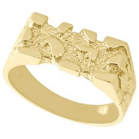Real 10k Yellow Gold Mens Nugget Style Pinky Ring Rectangle Fancy Band 8 25mm Fashion Rings Ring Designs Fancy
