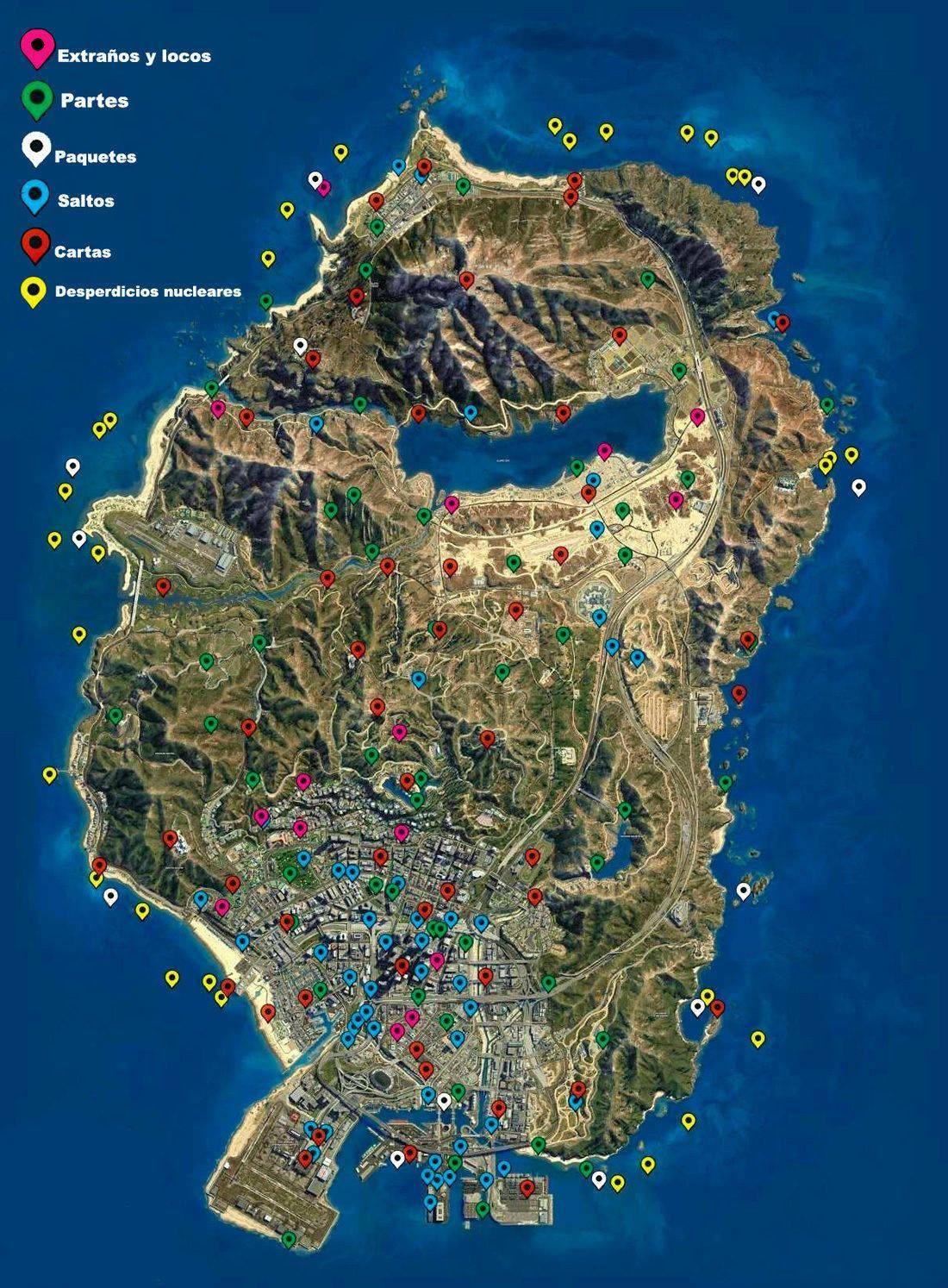Mapa De Coleccionables En Gta V Trucos Para Gta V Trucos De Gta 5 Juegos De Gta