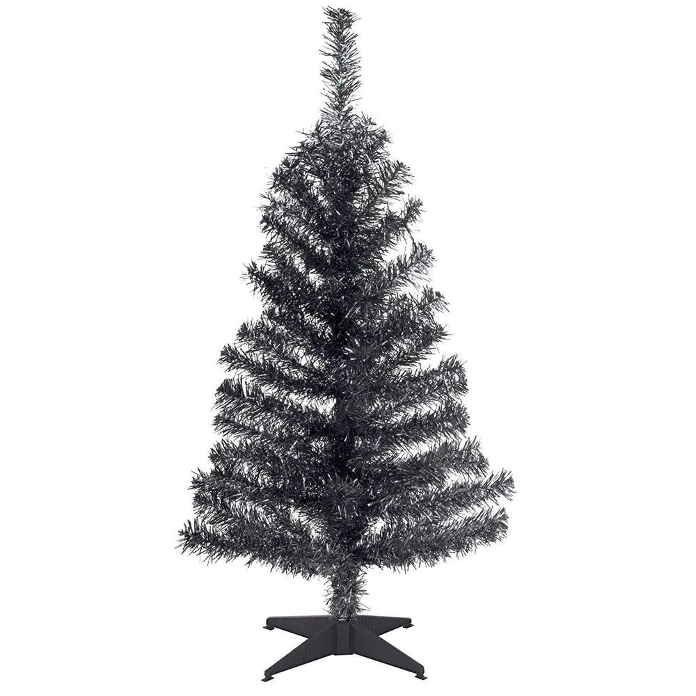 black tinsel tree 3 foot with plastic stand christmas trees holiday decoration - 3 Foot White Christmas Tree