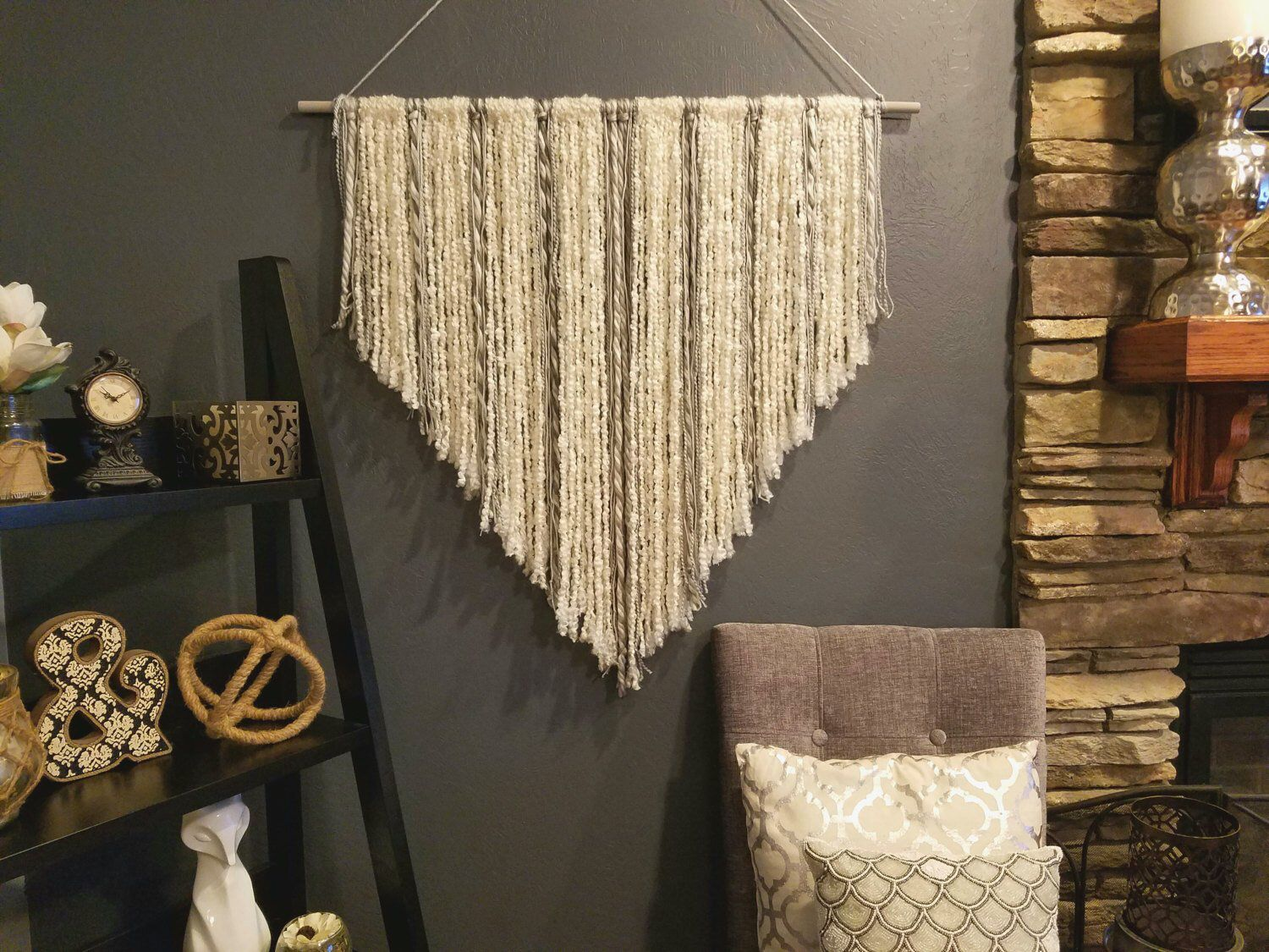 Boho Wall Hanging, Boho nursery, above crib art, boho chic, woven, bedroom art, hanging wall art, above bed art, tribal nursery, wall art is part of Boho bedroom Art - This cream and grey yarn boho wall hanging is made from the highest quality wool to give lots of depth and texture to your wall  Imagine how unique your space will look with this hanging in it  This is a large wall hanging and can definitely liven up any space  It looks great over couches, beds, cribs, in kid rooms, nearly anywhere!  I am happy to customize this hanging to any color combination you like  If you need the perfect fit for a nursery or any other room I am happy to help! Don't hesitate to ask  I am happy to match colors    I do have an add on feature ($7 for36 inch and $10 for 48 inch) for all custom colors  I am happy to swap out some minor colors at no charge! Just message me and we can talk!  This listing at the lower price is only for 3 colors of wool  If you'd like more colors than 3 ( keep in mind 2 are the main cream and the large grey) please take a look at my other listings that contain more than 3 colors and purchase one of those for $5 more and let me know what colors you'd like   This hanging is large and can take on any wall space  It measures 3 feet wide and about 36 to 38 inches long at its longest points  Each one is custom made so they all have their own personalities and end length which makes them unique  If you would like one smaller or larger I am also happy to do that   The hanging pictured is on a 3 foot rod, but can be purchased as a bigger or smaller hanging on a 4 or 2 foot rod from the drop down options  These make wonderful house warming or wedding gifts because they are so versatile and can go in nearly any home or space beautifully  Anyone would love to receive something so unique and thoughtful  All items are made to order and hand made by me so please be aware of my current turn around times  Normally it is around 8 business days, but I do always do my best 