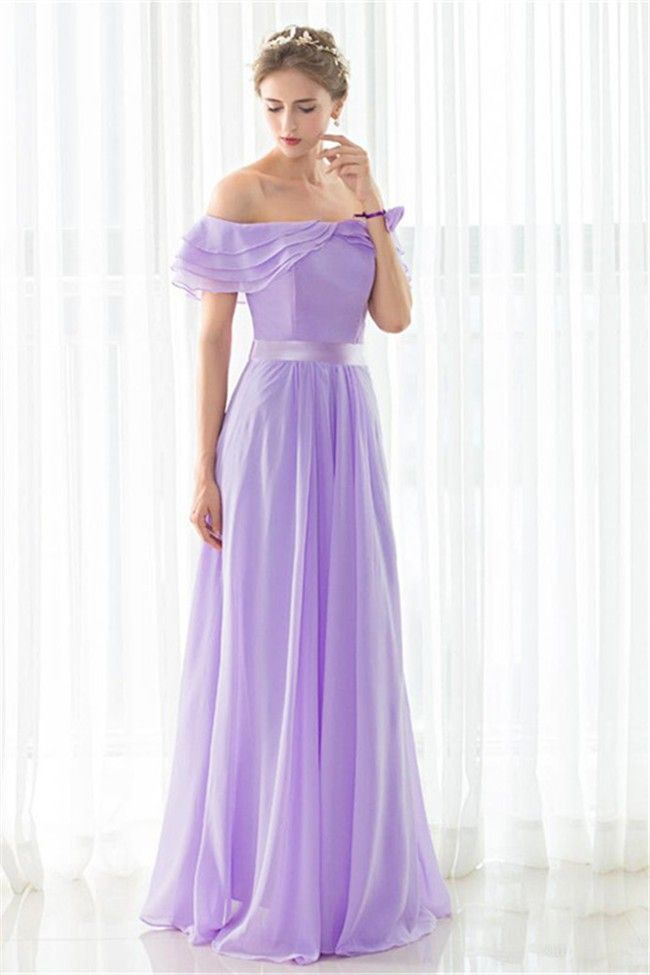 c03dfb527 Beautiful Off The Shoulder Long Lilac Chiffon Evening Prom Dress With Sash