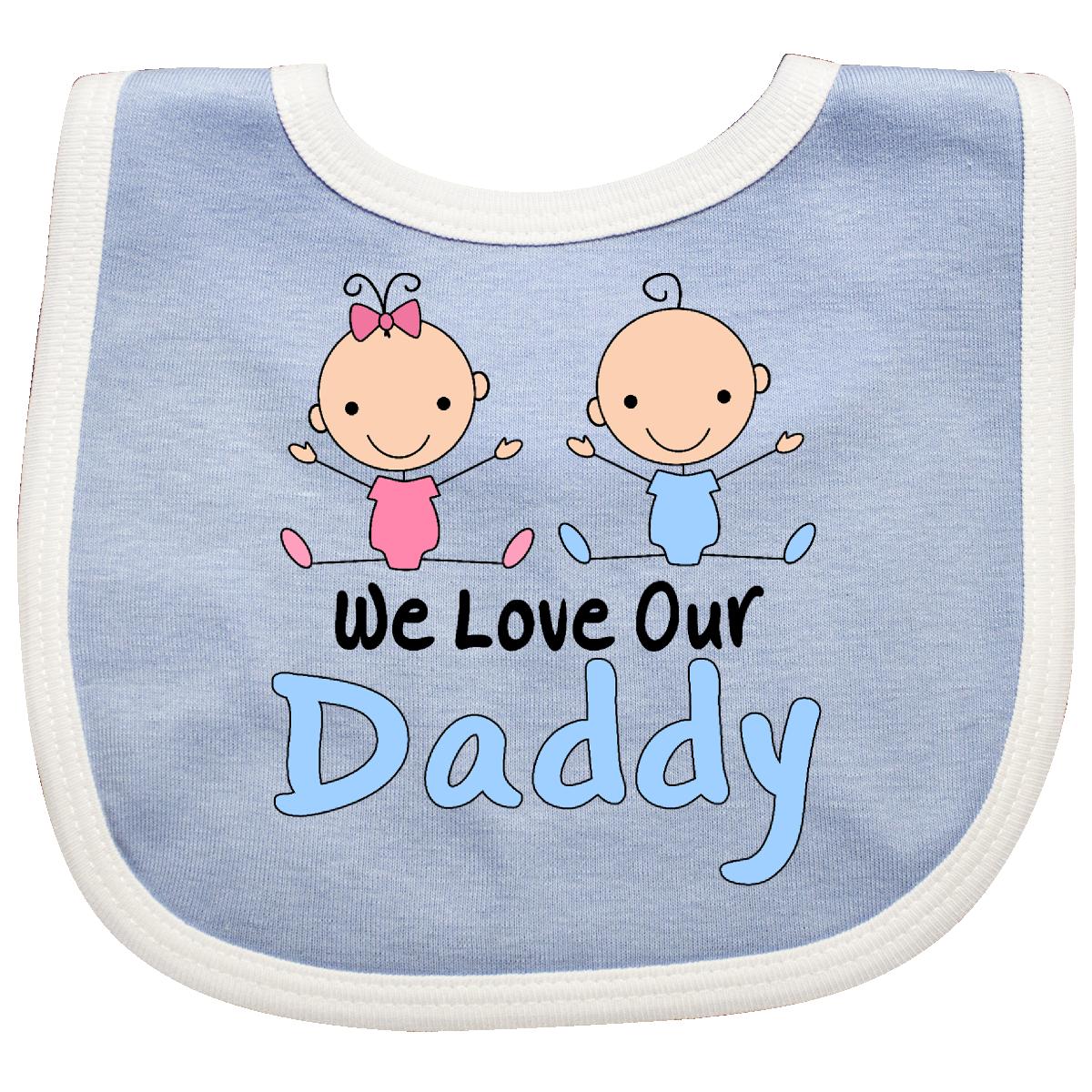 Boy Girl Twins Love Daddy Baby Bib Blue And White 10 99 Www